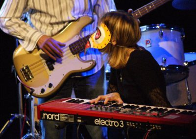 Trying to play Rick Patten's bass during a gig with Arthur Brown