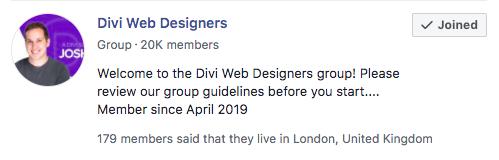 'Divi Web Designers' Facebook Group - Josh Hall
