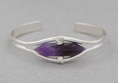 Amethyst Gemstone Point Bracelet, Sterling Silver
