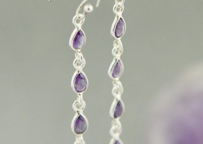 Amethyst Gemstone Rain Earrings, Sterling Silver