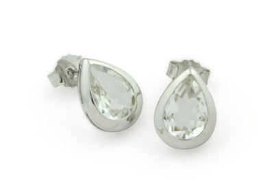 Clear Quartz Gemstone Teardrop Stud Earrings, Sterling Silver