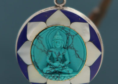 Detailed Buddha Pendant with Lapis Lazuli