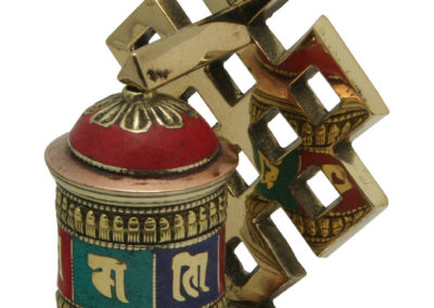 Endless Knot Design Brass Prayer Wheel