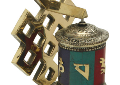 Endless Knot Tibetan Brass Prayer Wheel