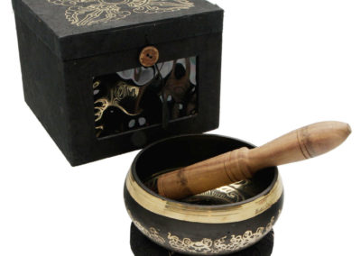 Etched Singing Bowl with Embossed Double Vajra Gift Set