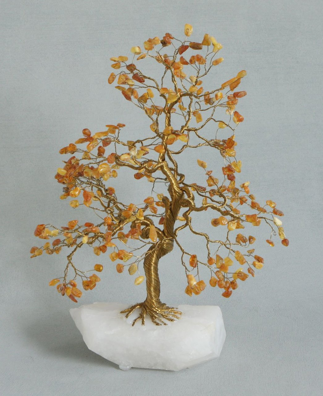 Exquisite Amber Gemstone Tree of Life, 14 Inches