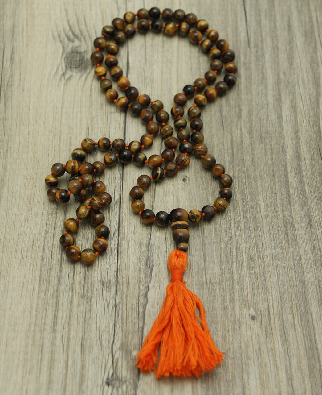 Knotted Tiger Eye Mala, 108 Bead Count