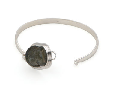 Premium Labradorite Buddha Latch Bracelet, Sterling Silver