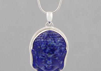 Lapis Lazuli Face of Buddha Pendant, Sterling Silver
