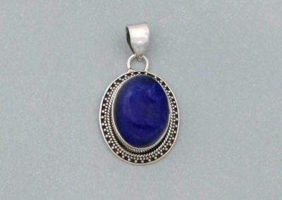 Lapis Lazuli Gemstone Talisman Pendant with Sterling Silver