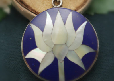 Lapis, Mother of Pearl and Sterling Silver Lotus Pendant