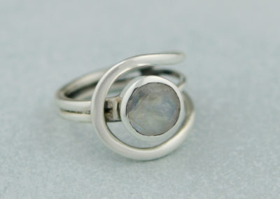 Magical Moonstone Sterling Silver Loop Ring