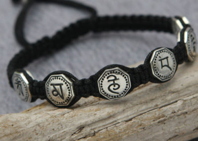 Men's Sterling Silver Black Cord Mantra Bracelet