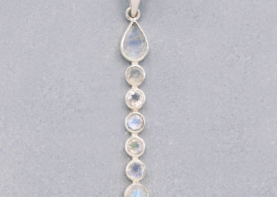 Moonstone Linear Pendant, Sterling Silver