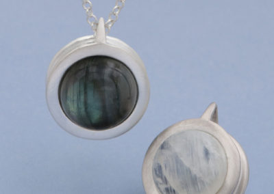 Moonstone and Labradorite Two-Sided Gemstone Globe Necklace