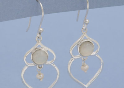 Pearl Bead Droplet Earrings with Moonstone