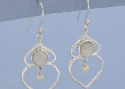 Pearl Bead Droplet Earrings with Moonstone