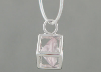 Rose Quartz and Sterling Silver Cube Pendant