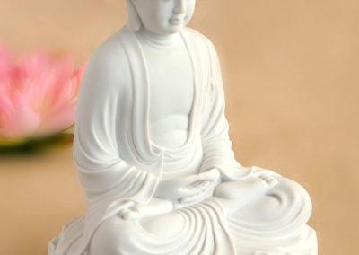 Serene White Garden Meditating Buddha statue