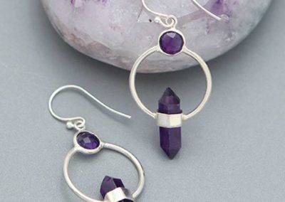 Soothing Amethyst Point Earrings