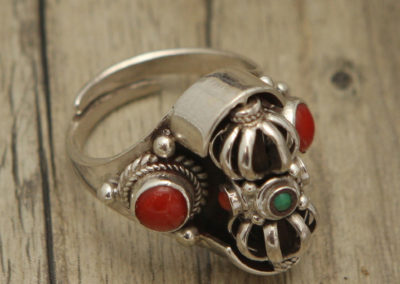 Sterling Silver Adjustable Spinning Vajra Ring