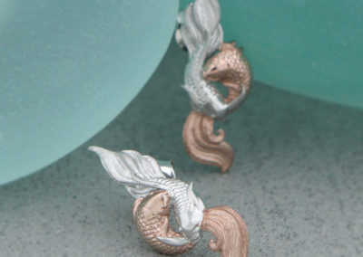 Sterling Silver Auspicious Symbol Fish Earrings with Rose Gold