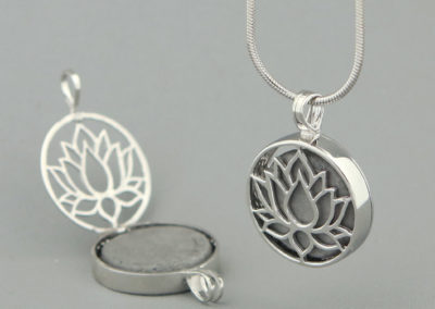 Sterling Silver Blooming Lotus Locket Pendant