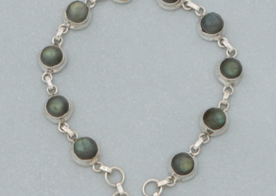 Sterling Silver Link Bracelet with Labradorite Gemstone