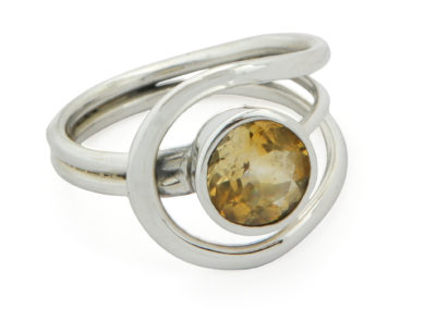 Sterling Silver Loop Ring with Citrine Gemstone