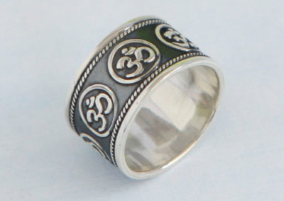 Sterling Silver Om Ring for Men and Women, Size 7-12