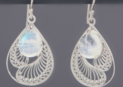 Sterling Silver Rainbow Moonstone Earrings in Feather Design