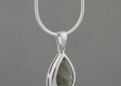 Sterling Silver Teardrop Pendant with Labradorite