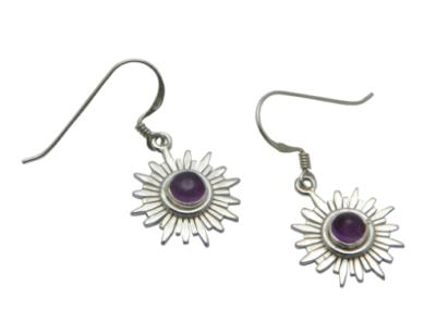Sterling Silver and Gemstone Chakra Earrings - Amethyst