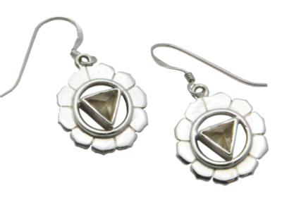 Sterling Silver and Gemstone Chakra Earrings - Citrine