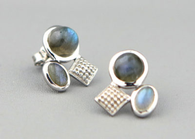 Sterling Silver and Labradorite Asymmetric Earrings
