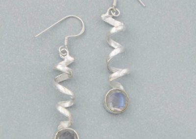 Sterling Silver and Moonstone Spiral Earrings
