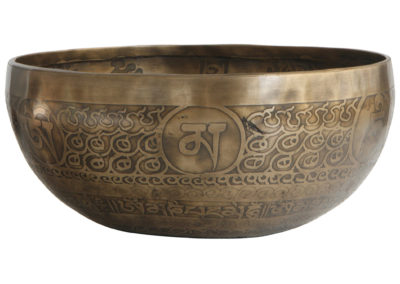 Traditional Singing Bowl with Auspicious Symbols and Vajra, Nepal