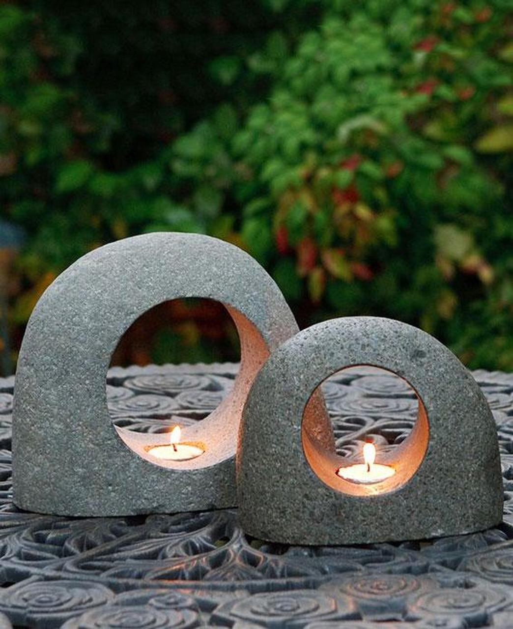 Zen-Inspired Stone Moon Tealight Holders