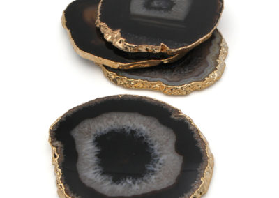Gilded Black Agate Gemstone Coasters