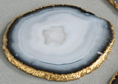 Gilded Agate Slice Gemstone Coasters, Set of 4