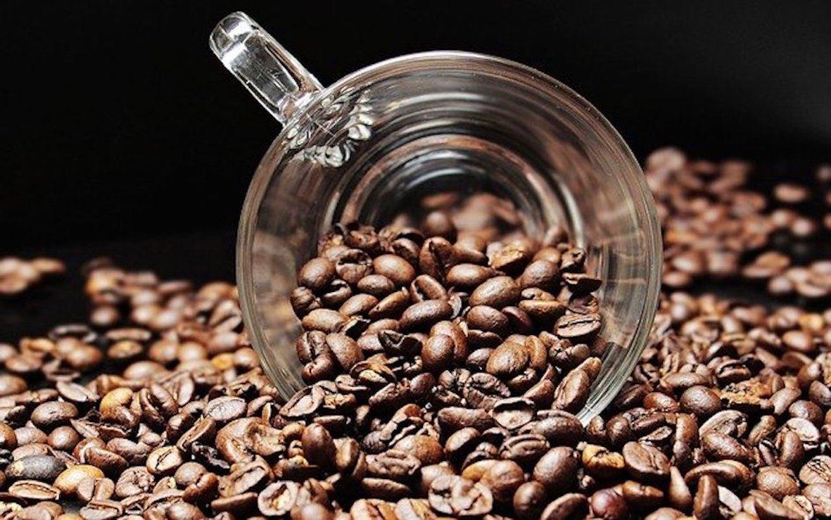 coffee beans and glass mug