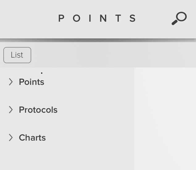 points, protocols and charts menu from Points acupuncture software