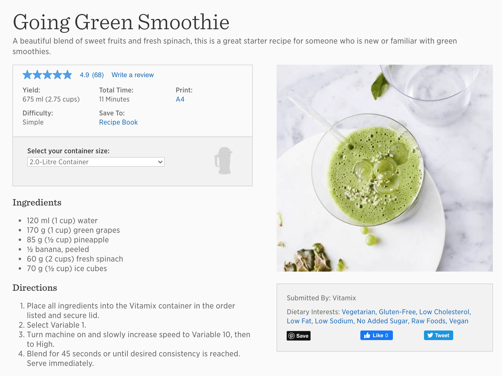 Going Green Smoothie by Vitamix